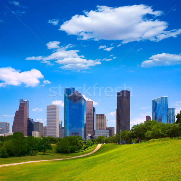 Houston Texas linha do horizonte moderno blue sky ver Foto stock © lunamarina