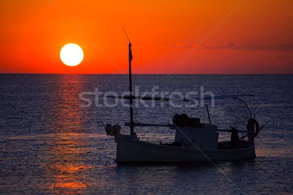 Ibiza sunset  view and fisherboat formentera Stock photo © lunamarina