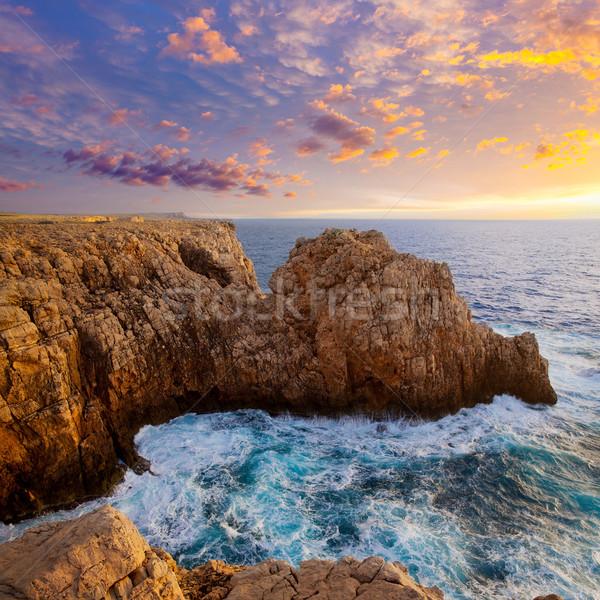 Menorca Punta Nati sunset in Balearic Islands Stock photo © lunamarina