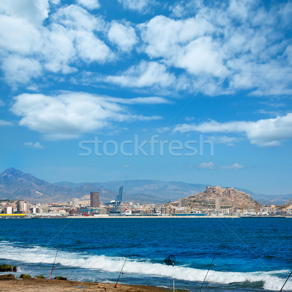 Alicante skyline downtown and port from Mediterranean Stock photo © lunamarina