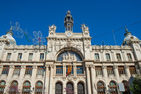Gebouw Valencia centrum Spanje straat Blauw Stockfoto © lunamarina