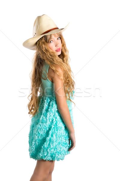 Blond fashion cowboy hat girl with turquoise dress Stock photo © lunamarina