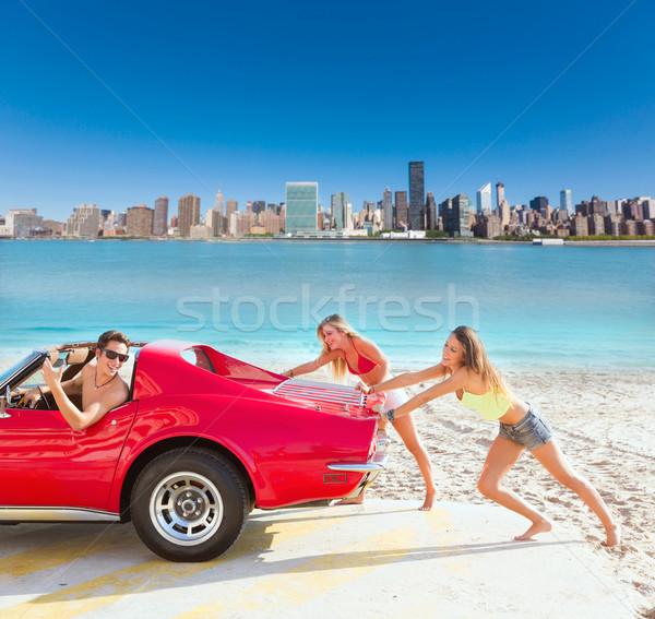 車 プッシング 代 女の子 ユーモア 面白い ストックフォト © lunamarina