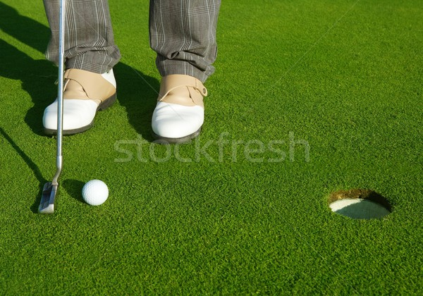 Golf green hole course man putting short ball Stock photo © lunamarina
