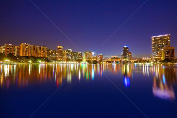 Stock fotó: Orlando · sziluett · naplemente · tó · Florida · USA