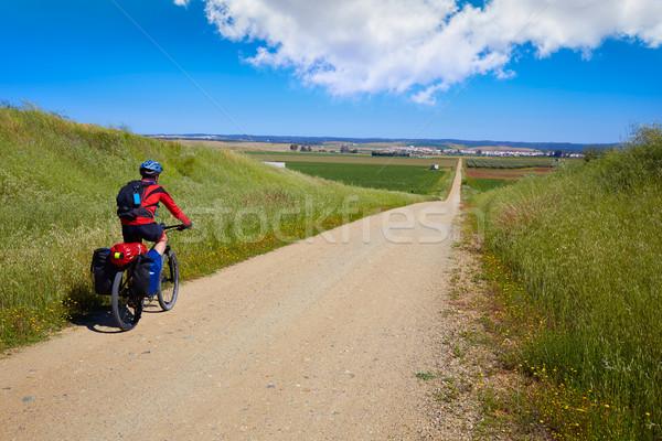 Motoros LA út Spanyolország Santiago férfi Stock fotó © lunamarina