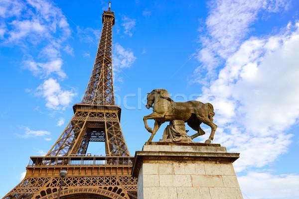 Tour Eiffel Paris ciel bleu France bleu ensoleillée Photo stock © lunamarina