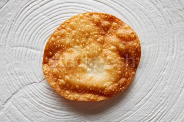 Sült tortilla modern gasztronómia fehér edény Stock fotó © lunamarina
