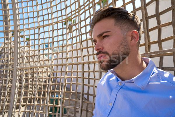 Fiatal szakáll férfi nyugodt tengerpart függőágy Stock fotó © lunamarina