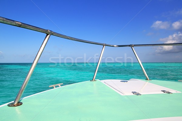 Caribbean gren boat bow turquoise sea blue sky Stock photo © lunamarina