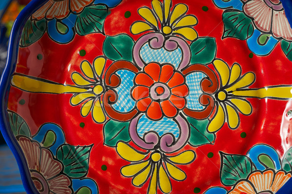 Mexican poterie style Mexique plaque main Photo stock © lunamarina