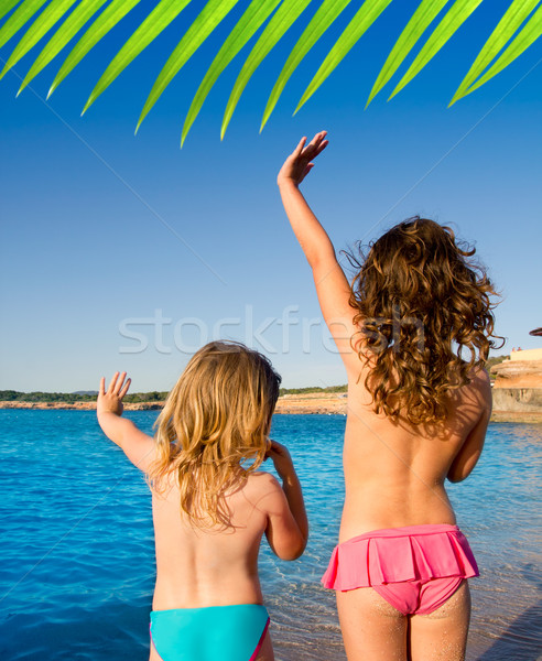 Groet handteken strand gezegde doei Stockfoto © lunamarina