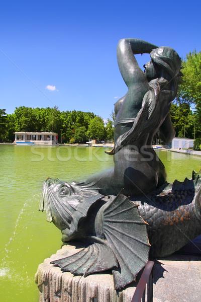 Madrid zeemeermin standbeeld vis park meer Stockfoto © lunamarina