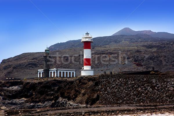 La Palma Fuencaliente lighthouse in saltworks Stock photo © lunamarina