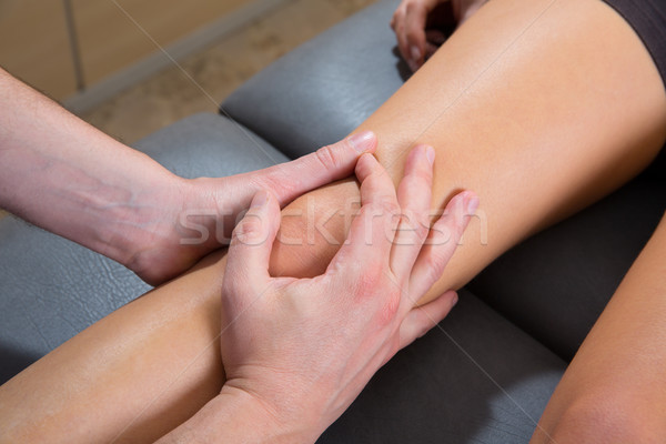 Maitland knee therapy massage on woman leg Stock photo © lunamarina