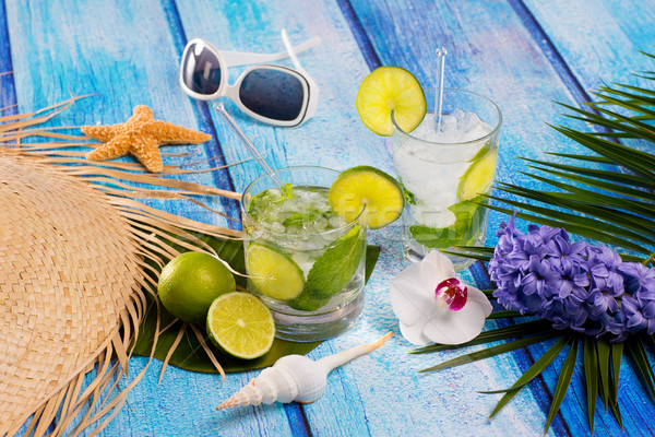 Mojito cocktail tropicales bleu bois Photo stock © lunamarina