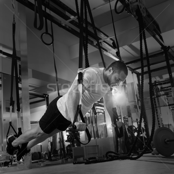 Crossfit fitness man training gymnasium Stockfoto © lunamarina