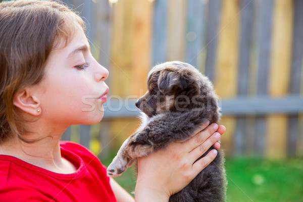 Beautiful kid girl portrait with puppy chihuahua doggy Stock photo © lunamarina