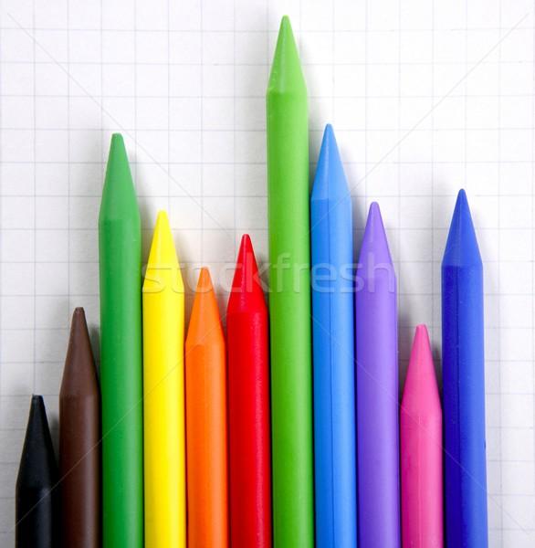 Kleur potloden grafische grafiek inkomsten verslag Stockfoto © lunamarina