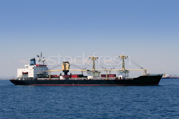 Cargo container freighter ship sailing in Mediterranean sea Stock photo © lunamarina