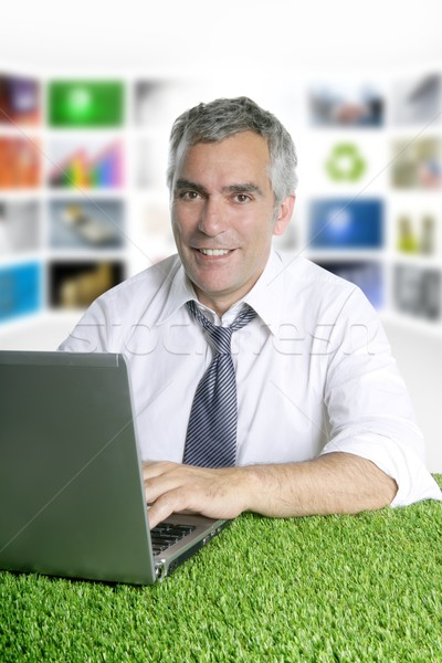 senior businessman green grass tv presenter Stock photo © lunamarina