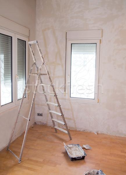 House indoor improvements plater tools and ladder Stock photo © lunamarina