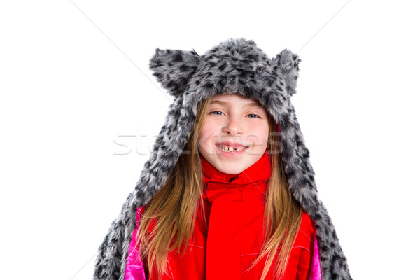 blond kid girl with winter gray feline fur scarf hat in white Stock photo © lunamarina