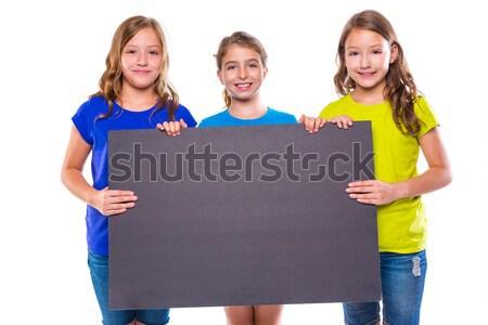 Stock fotó: Boldog · gyerek · lányok · tart · iskolatábla · copy · space