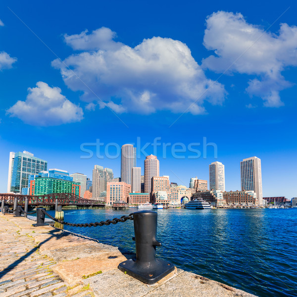 Boston skyline from Fan Pier sunlight Massachusetts Stock photo © lunamarina