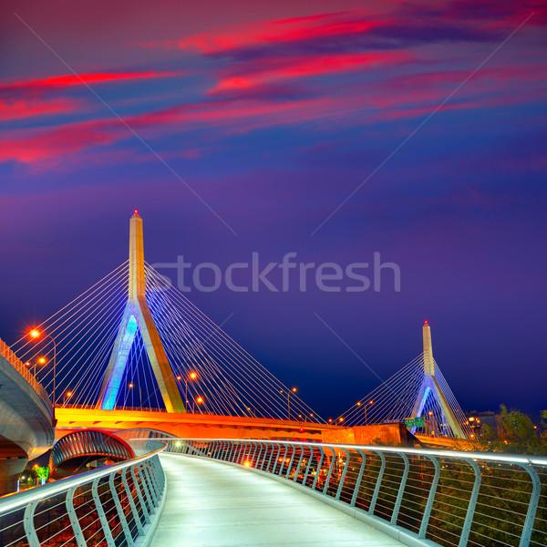 Бостон моста закат Массачусетс холме США Сток-фото © lunamarina