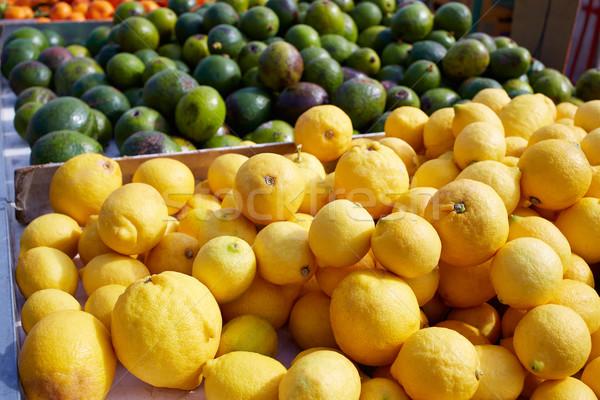 Citrom citromsárga piactér szabadtér Spanyolország mediterrán Stock fotó © lunamarina