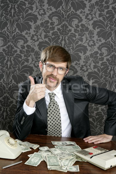 Zakenman nerd boekhouder dollar merkt Stockfoto © lunamarina