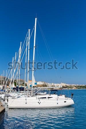anchored sailboat Formentera turquoise Illetes Stock photo © lunamarina