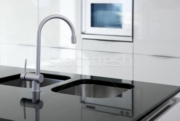 Cucina rubinetto forno moderno bianco nero interior design Foto d'archivio © lunamarina