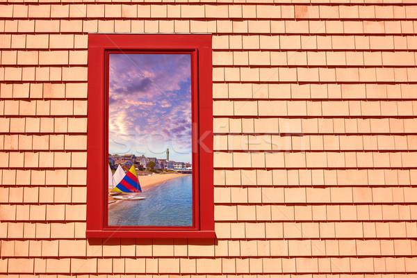Cape cod fenêtre Massachusetts USA plage mur Photo stock © lunamarina