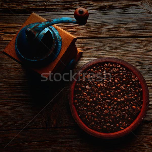 Coffee grinder vintage on wooden old tabl Stock photo © lunamarina