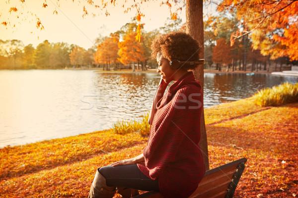 Woman listening music in the autumn park Stock photo © lunamarina