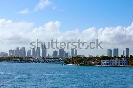 Miami şehir merkezinde ufuk çizgisi plaj buğu Stok fotoğraf © lunamarina