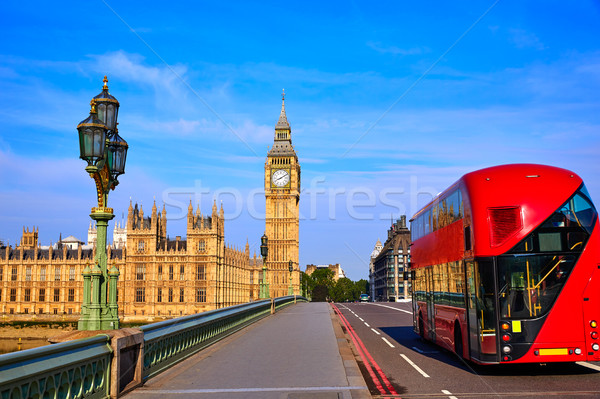 большой Бен часы башни Лондон автобус Англии Сток-фото © lunamarina