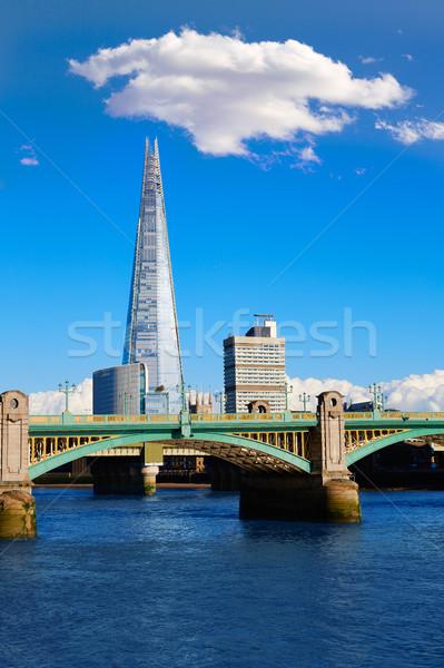 London Southwark bridge and Shard on Thames Stock photo © lunamarina