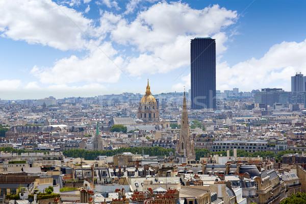 Párizs sziluett arany kupola Franciaország légifelvétel Stock fotó © lunamarina