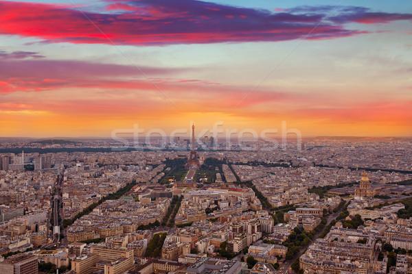 Сток-фото: Эйфелева · башня · Париж · антенна · закат · Франция · небе
