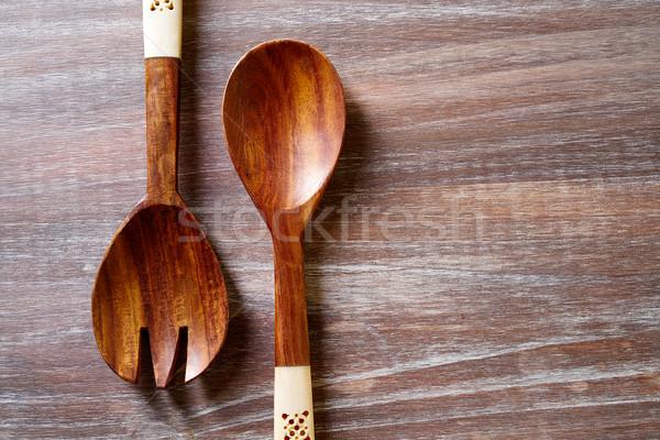Fa kanál villa fa deszka konyha szerszámok Stock fotó © lunamarina
