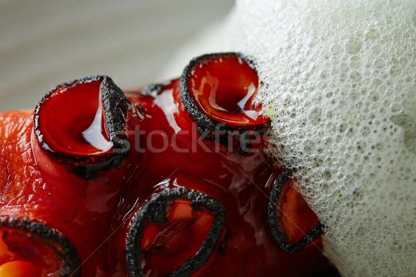 ızgara ahtapot maydanoz hava köpük makro Stok fotoğraf © lunamarina