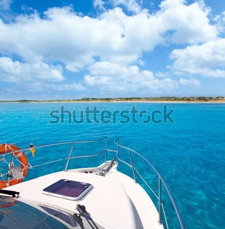 Foto d'archivio: Barca · verde · arco · turchese · Caraibi · mare