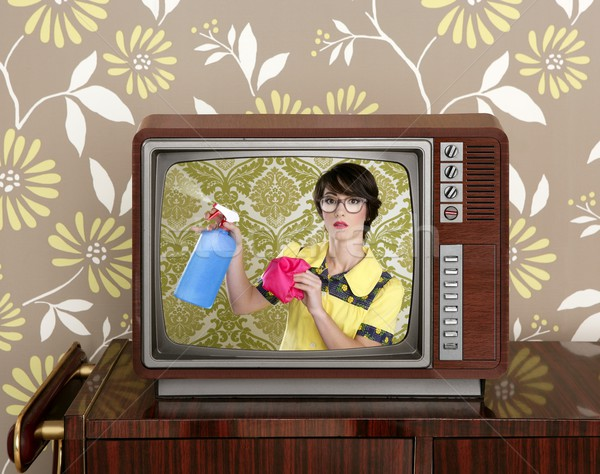ad tvl retro nerd housewife cleaning chores Stock photo © lunamarina