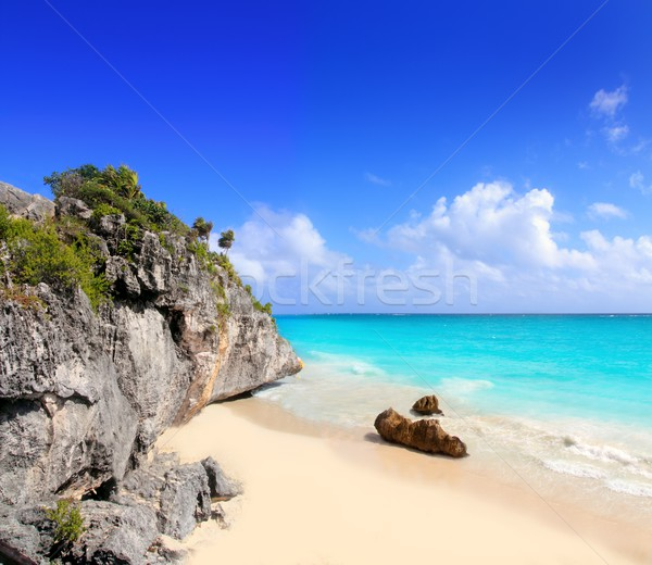 Stock photo: Caribbean beach in Tulum Mexico under Mayan ruins