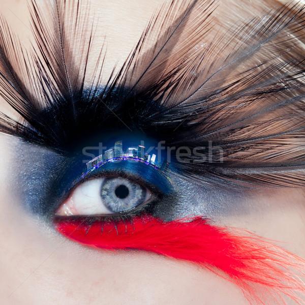 黒 鳥 女性 アイメイク マクロ 1泊 ストックフォト © lunamarina