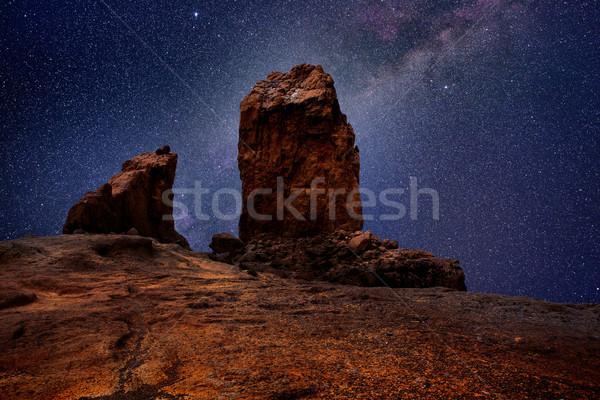 Gran canaria roque nublo in night stars light Stock photo © lunamarina