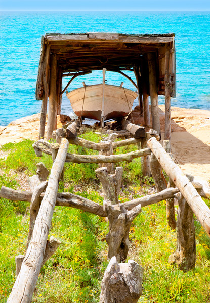 beached boat in wood railway at Formentera Stock photo © lunamarina